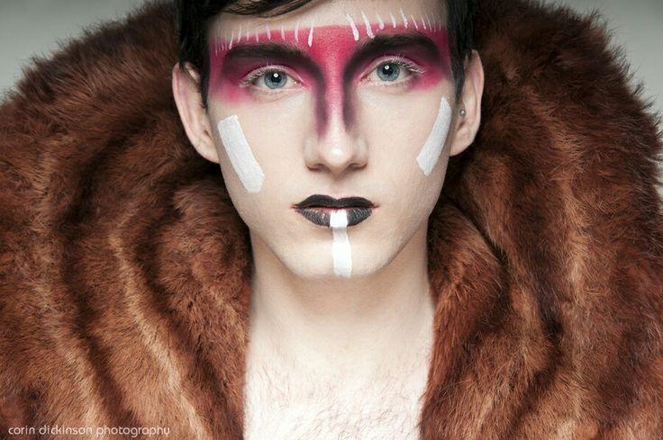 native American navajo inspired male makeup headshot