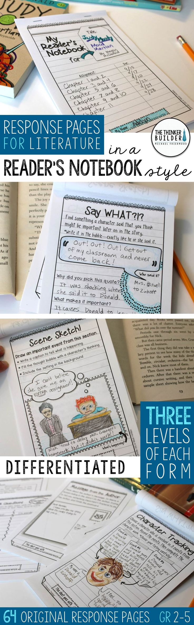 Get students thinking deeply about their reading! A huge collection of response pages designed in an engaging notebook format. Use individually or create customized reader's notebook packets. Use with virtually any piece of literature. Differentiated at three levels. Common Core aligned. Perfect for guided reading, book clubs, and practicing key reading skills. (Gr 2-5) $