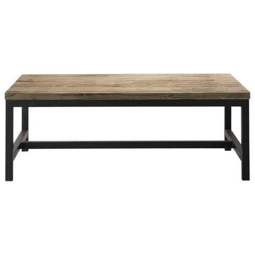 Metalen en houten industriële salontafel B 100 cm