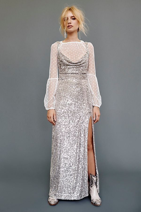 edf201f0ffd Cool Girl Maxi Dress - Sleeveless Silver Sparkly Maxi Dress with Side Slit  - Silver Maxi Dresses - Sparkly Maxi Dresses - All Sparkle Dresses