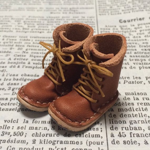 Real leather: miniature lace-up boots ORANGE BROWN for by nero1025