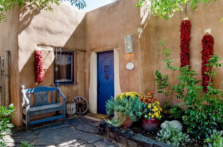 Front entrance to an adobe house