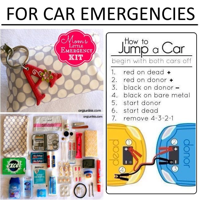 Car Hacks, Tricks and Tips for Families  Check out the one on how to jump start a car in the correct sequence....
