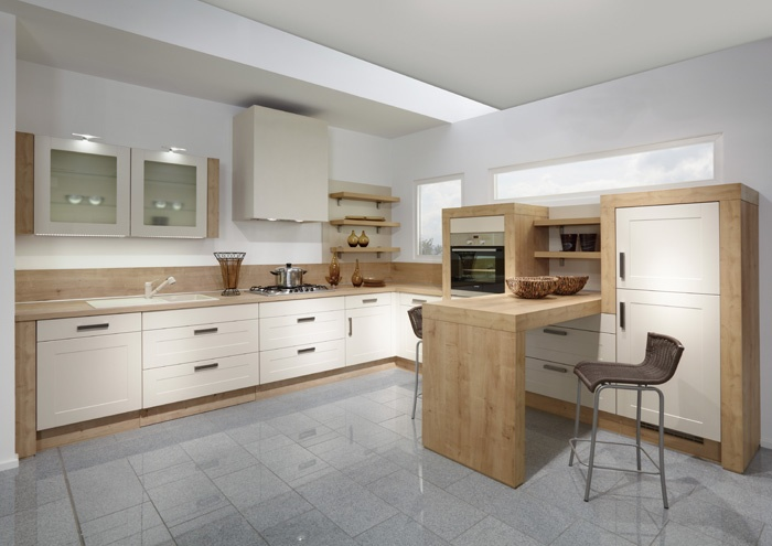 Cream cupboards and wood look are interesting kitchen for Kitchen design dunedin