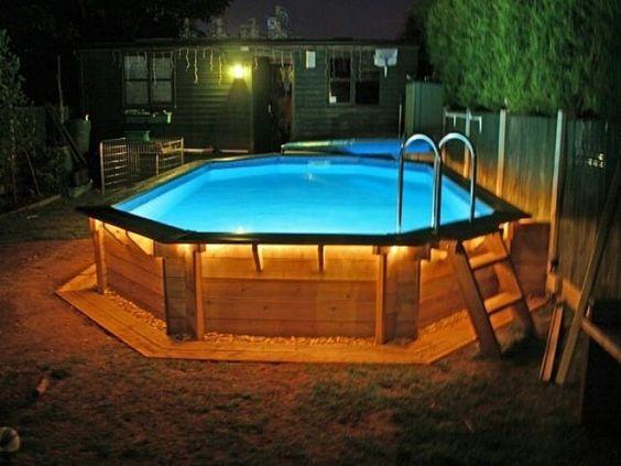 Exquisite Above Ground Pool Deck Surrounded With Grass Garden ...  ProjekteSchwimmbaddecksOberirdische ...