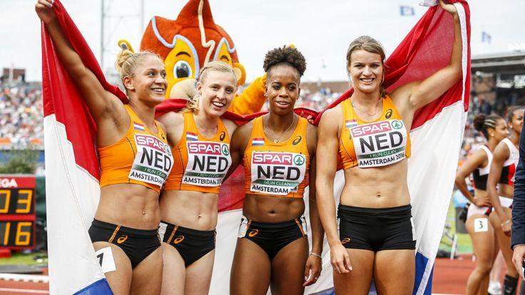 Dafne Schippers heeft zondag haar tweede gouden medaille op de EK atletiek in Amsterdam veroverd. De Nederlandse sprintkoningin liep met het vrouwenteam op de 4x100 meter estafette naar de eerste plaats in de finale, in een Nederlands record van 42,04 seconden