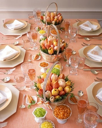 Easter: Table decor.  I love the baskets as the center pieces, +milk glass dishes with jellybeans.  So simple and so pretty!. beccaaah