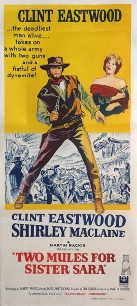 Two Mules For Sister Sara original 1970 Australian/NZ Daybill western movie poster, staring Clint Eastwood. Available to purchase from our website.