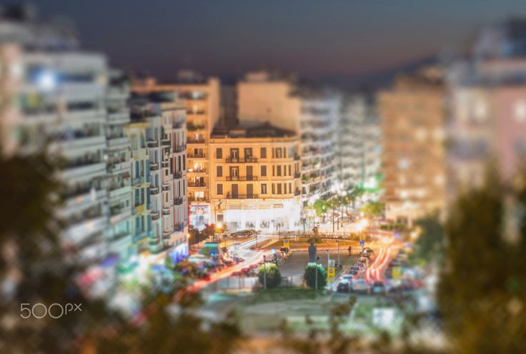 Little tiny world - A long exposure photo with the miniature faking effect from the Agias Sofias square in Thessaloniki, Greece.