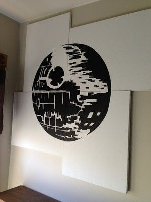 Star Wars Death Star Acrylic Painting 4 Pieces 16x20 | eBay.