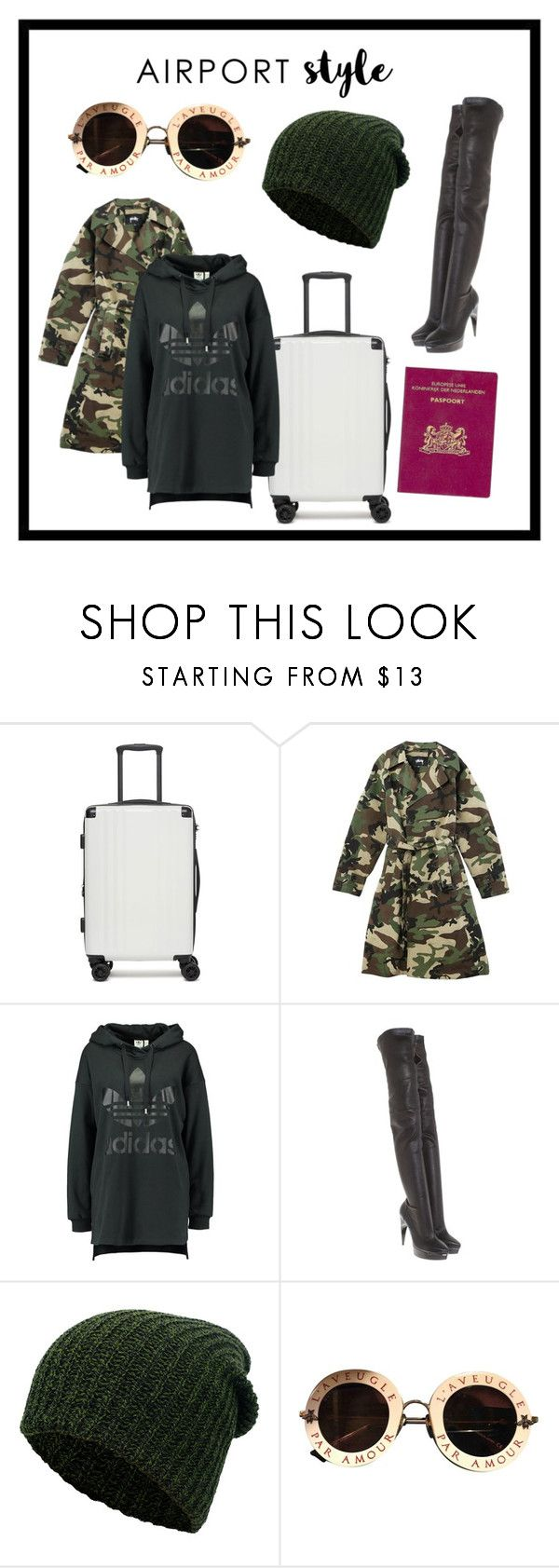 """Winter Airport Outfit"" by salsafar ❤ liked on Polyvore featuring CalPak, adidas Originals, Lanvin, Simplicity, Gucci, POL, Boots, adidas, camo and airportstyle"