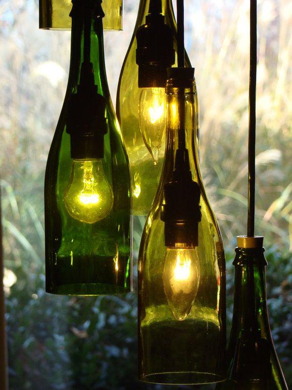 Lámpara de botella de vino en cascada por glow828 en Etsy