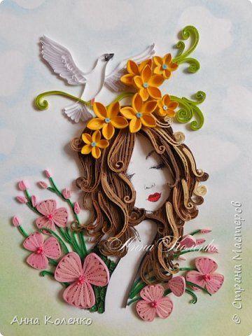 Картина панно рисунок Квиллинг Фея цветов Бумажные полосы фото 2