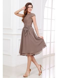 Brown Tea Length Short Mother of the Groom Dress with Short Sleeves (Free Shipping)