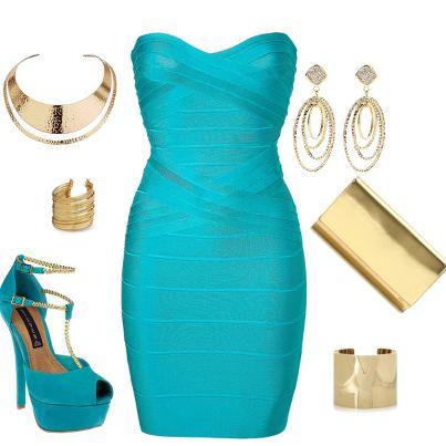 See more Light blue stylish fashion dresses and shoes with jewelry