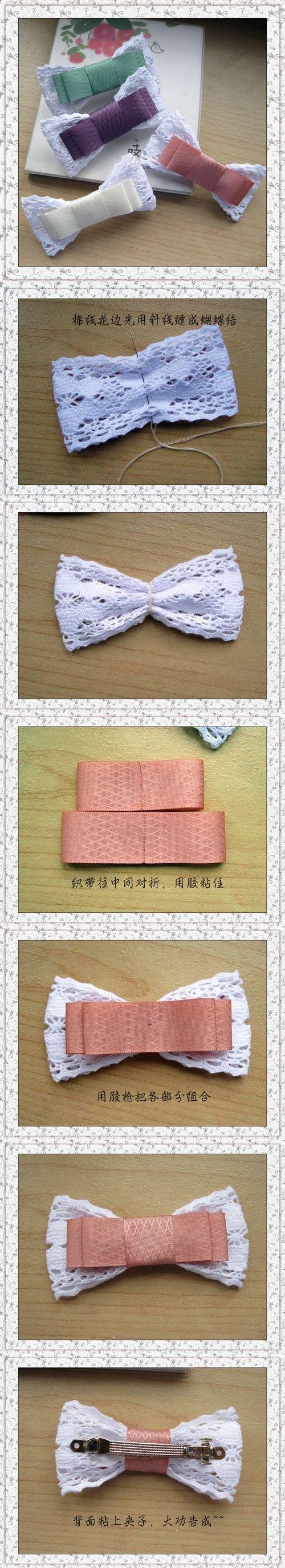 蝴蝶结 Lace back hair bow...cute idea for my adorable nieces.