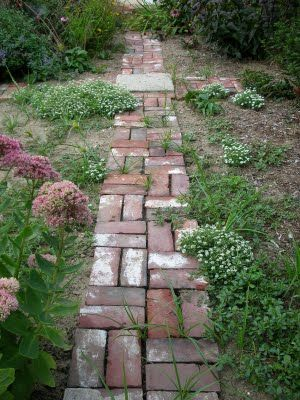 Needs more plantings and to be weeded, but I kind of like the narrow, rustic brick walk. Could be a nice secondary walk.