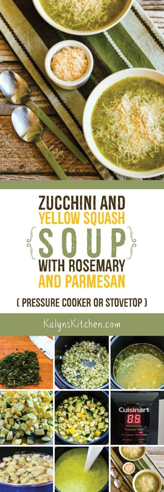This delicious low-carb, gluten-free, and vegetarian Zucchini and Yellow Squash Soup with Rosemary and Parmesan can be made in the Pressure Cooker or on the stovetop. [found on KalynsKitchen.com]