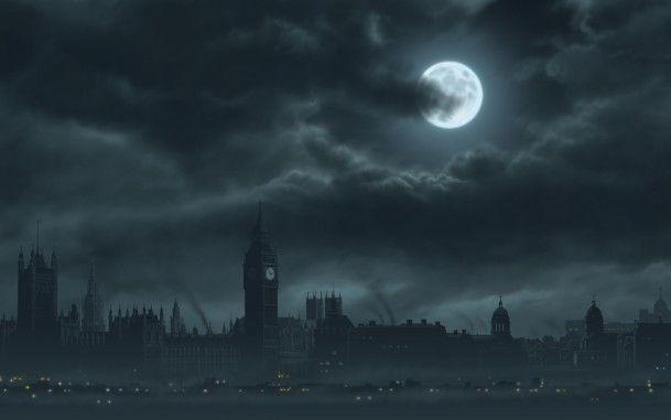 어둠 교회 건물 달 구름 안개