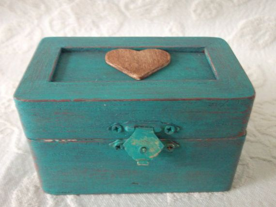 CIJ SALE 20 PERCENT Off Old Barnwood Themed Wedding Ring Bearer Pillow Box in Teal and Rustic Barn Red Country Wedding