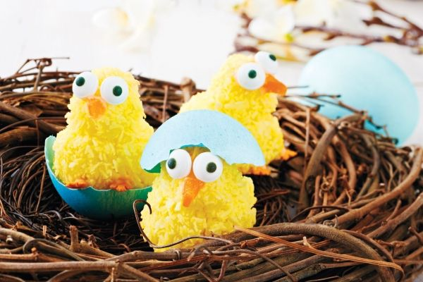 These adorable Easter chicks are made out of coconut macaroons, and transformed into cute animals with the addition of a few candies. For added effect, plate the chicks next to dyed, cracked eggshells.