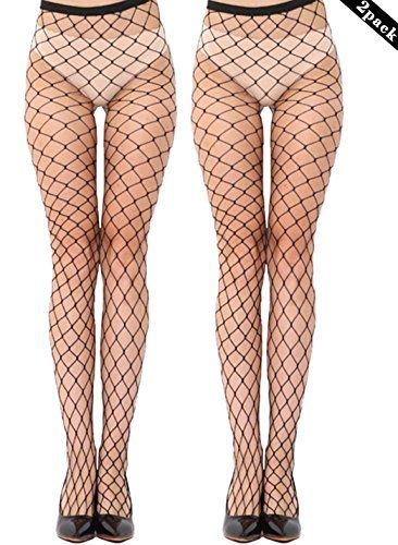 MERYLURE Black Fishnet Pantyhose 2 Pairs Women's Seamless Sheer Mesh Hollow Out Tights Stockings (One Size, X-Large Hole,2 Pack) ** Want additional info? Click on the image.