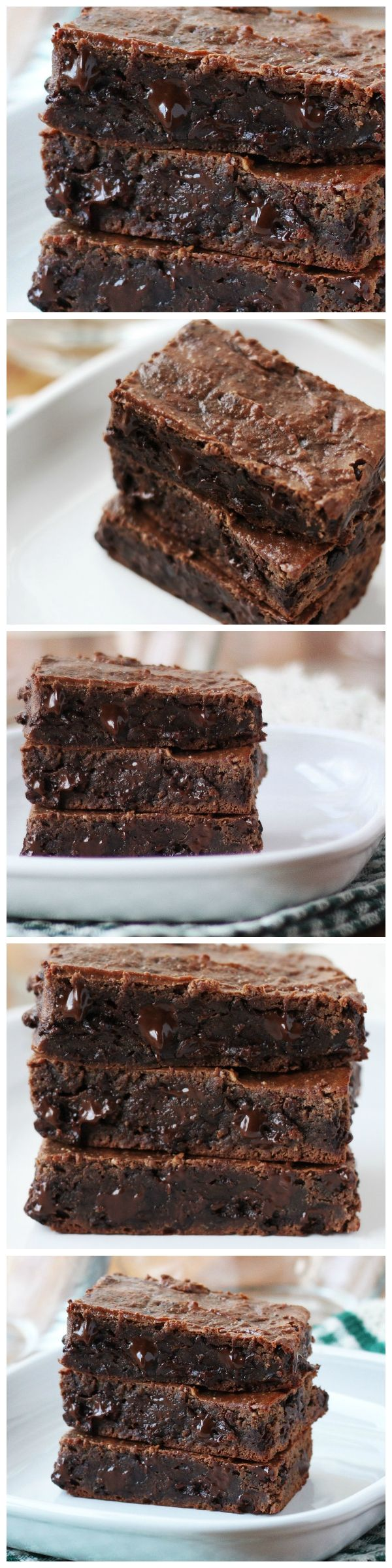 Double Chocolate Grain-Free Brownies - These double chocolate brownies are made with 6 ingredients: bananas, peanut butter, cacao, chocolate chips, raw honey and vanilla; surprisingly healthy with absolutely no flour!