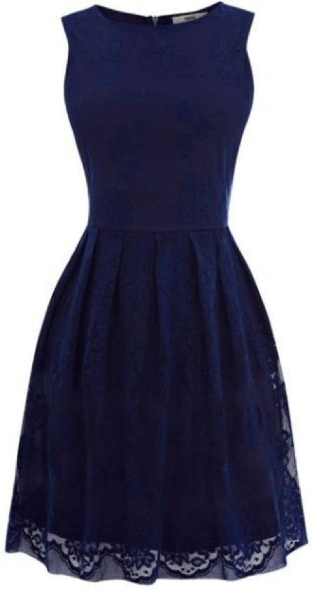 Midnight blue dress. Black lace and satin sash may compliment it nicely...