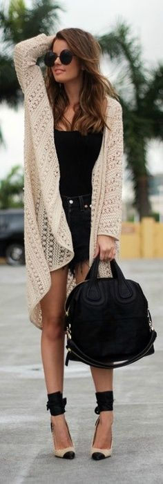 Love how the shoes compliment the sweater and dress.  CFB