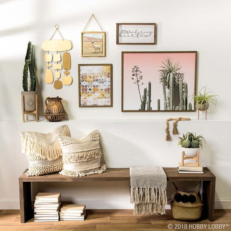Set Your Gallery Wall Goals High With A Chic Boho Space