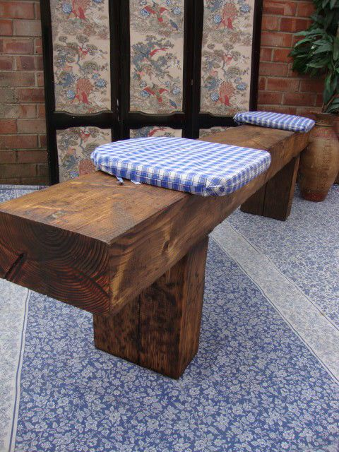 ♥ RAILWAY SLEEPER 5ft Rustic Reclaimed Old Oak Dining Plank Table Chair BENCH ♥