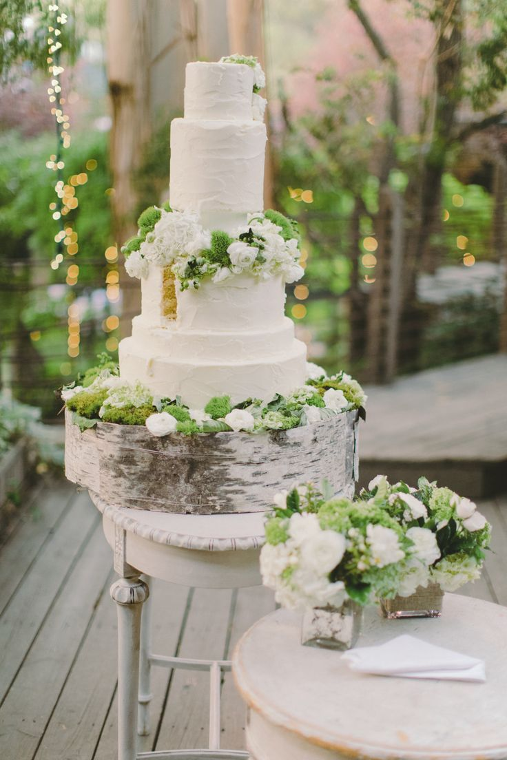 garden wedding inspiration + wedding cake with moss, bark cakestand + natural elements
