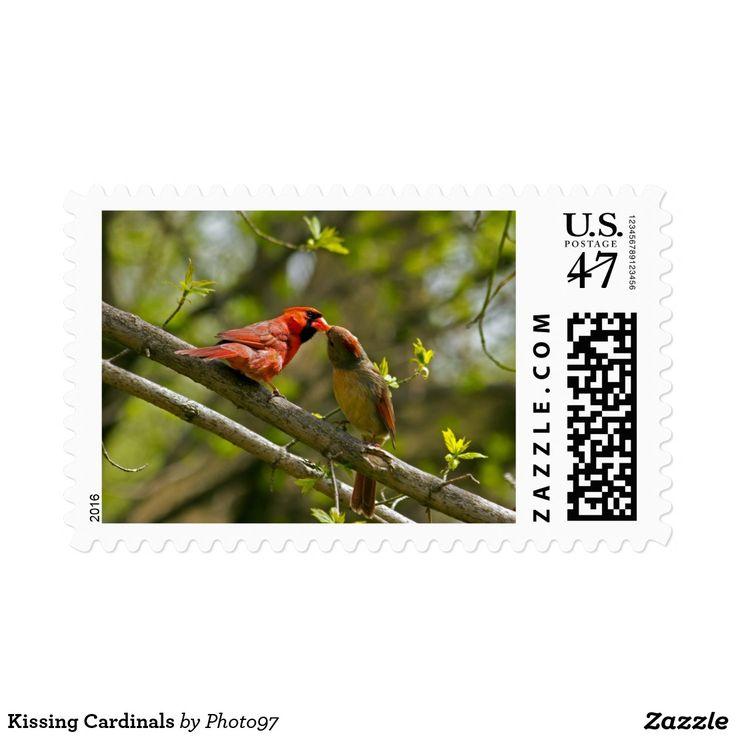 Kissing Cardinals Postage Stamp