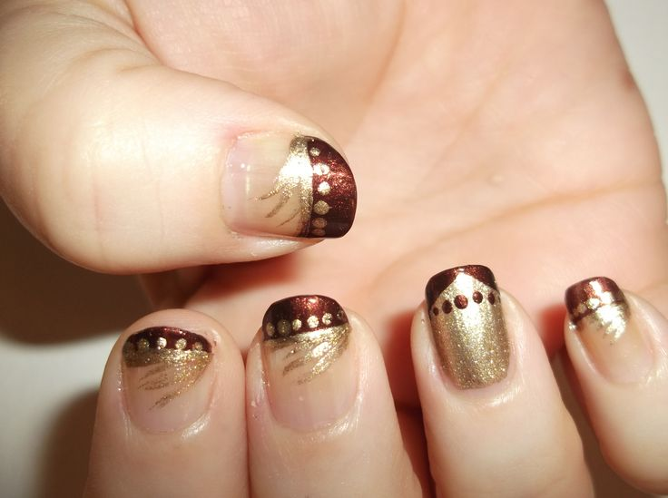 Chocolate Brown and Gold Nails