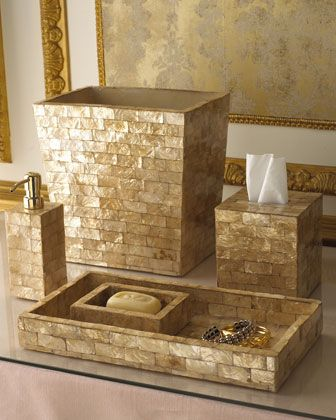 Gold Capiz Shell Vanity Accessories I Like The Golden/yellow Undertones And  The Mosaic Like