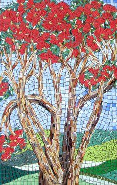 summer blooms - mosaic tree.  Love the blue and red together.