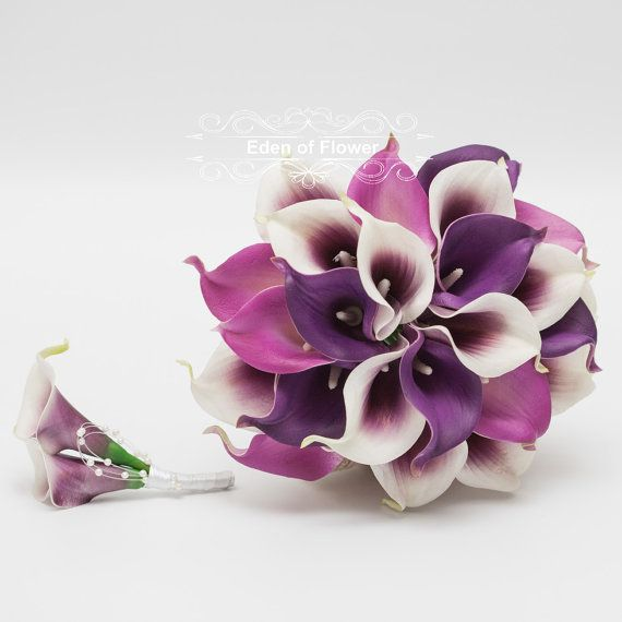 Real Touch Purple Calla Lily Wedding Bouquet Set Bridal