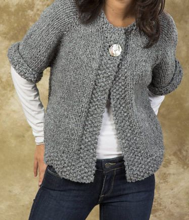 Free Knitting Pattern for Easy Quick Swing Coat - One-button cardigan jacket is knitted from the top down in one piece. Quick knit