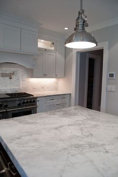 My White Marble Alternative Search - Superwhite Quartzite. Looks great, more durable than marble but not as durable as granite. Unfortunately still very expensive...my search continues :-(