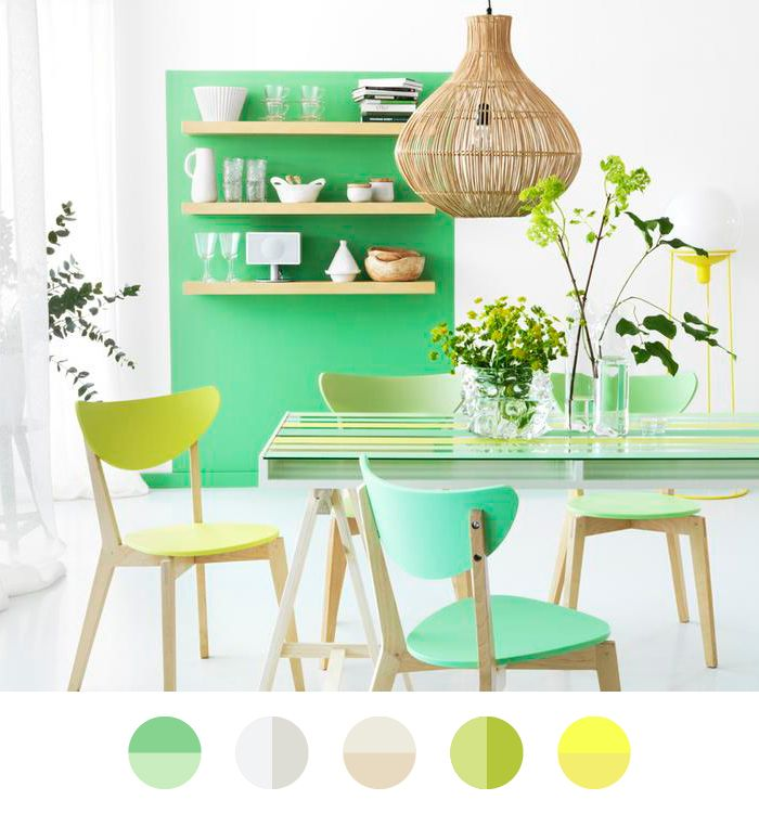 I want to live here…  Because green brings a fresh breeze in your home! Like you see in this kitchen. I love the combination of mint green and bare wood.  Image: From Scandinavia with love
