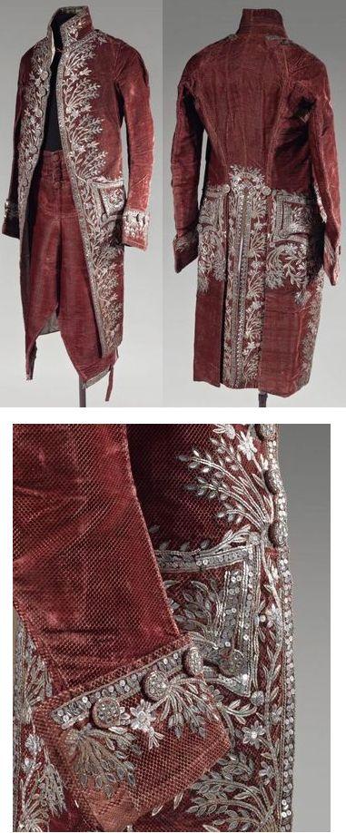 """Court Costume, France, Louis XVI, cut velvet in garnet with silver and gold embroidery and glass bead trimming. """"Costume civil de cour en velours ciselé. Époque Louis XVI"""". via Alain Truong"""