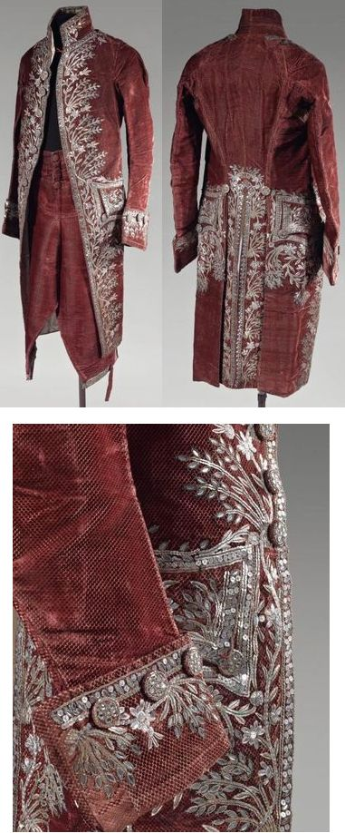 "Court Costume, France, Louis XVI, cut velvet in garnet with silver and gold embroidery and glass bead trimming. ""Costume civil de cour en velours ciselé. Époque Louis XVI"". via Alain Truong"