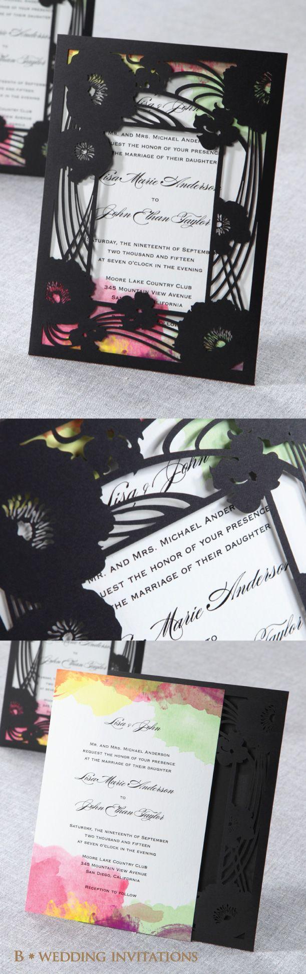 Laser Cut Frame Pocket By B Wedding Invitations #bweddinginvitations # Wedding #invitations #weddinginvitations