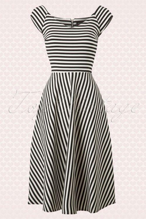 Retro dress plus size in black and white stripe