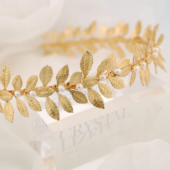 Gold leaf headband Grecian headpiece leafy by TigerlillyCouture