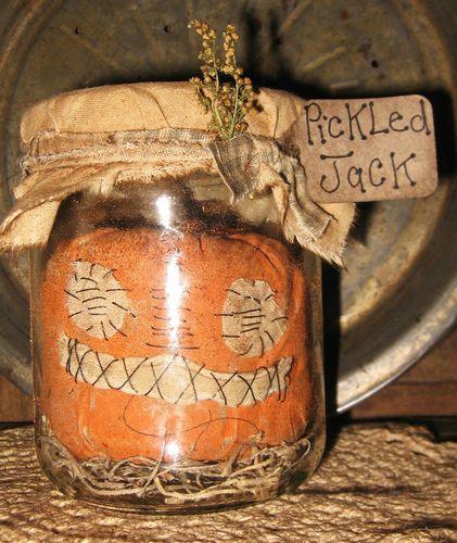 Primitive Pumpkin Halloween Fall Jar Pickled Jack Higgy