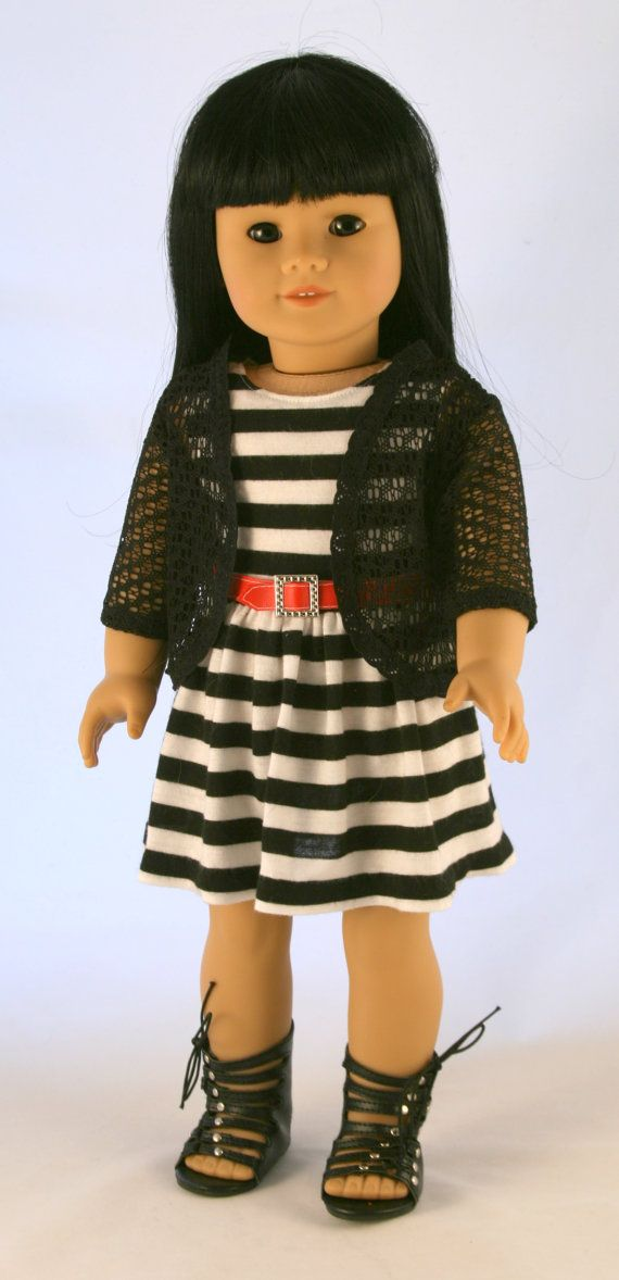 american girl doll clothes original striped dress with crochet lace cardigan and red belt. Black Bedroom Furniture Sets. Home Design Ideas