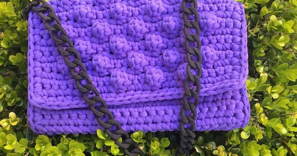 Purple with matte black chain bubble crochet bag | Bags | Pinterest | Crochet bags, Crochet and Purple
