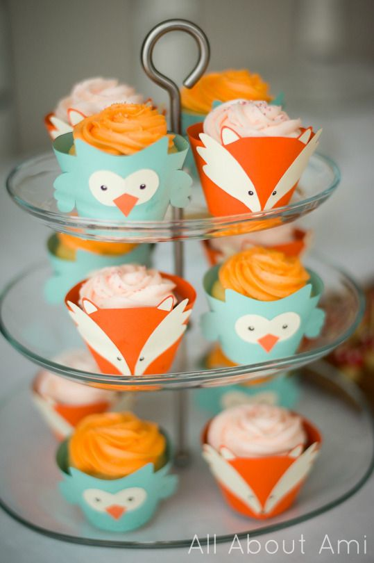 Fox & Owl Cupcake Liners (Woodland Creature Birthday Party)
