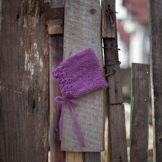 Purple newborn baby mohair bonnet baby knit by GabriCollection